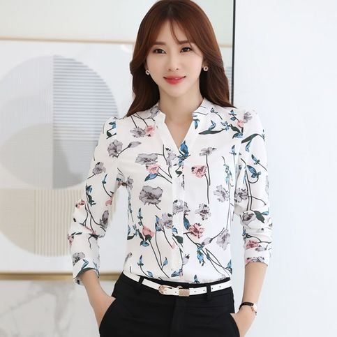 Vintage+Elegant+Ladies+Autumn+Floral+Printed+Chiffon+Blouse+Career+OL+Shirt+Tops +  Feature:  Fabric+:+Chiffon  Collar:+V+Neck  Sleeve:+Long+Sleeve  Color:+As+Photo+Show  Pattern:+Floral+Printed  Size+:+S-XXL+(Tag+Size)