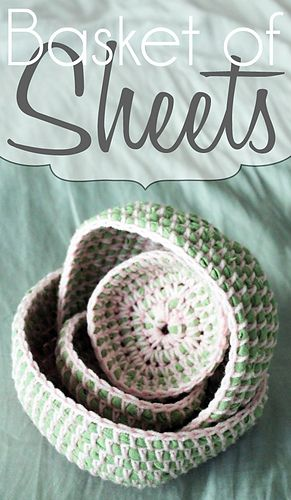 Use an old sheet to create the base for this crocheted basket. (Ravelry.com)