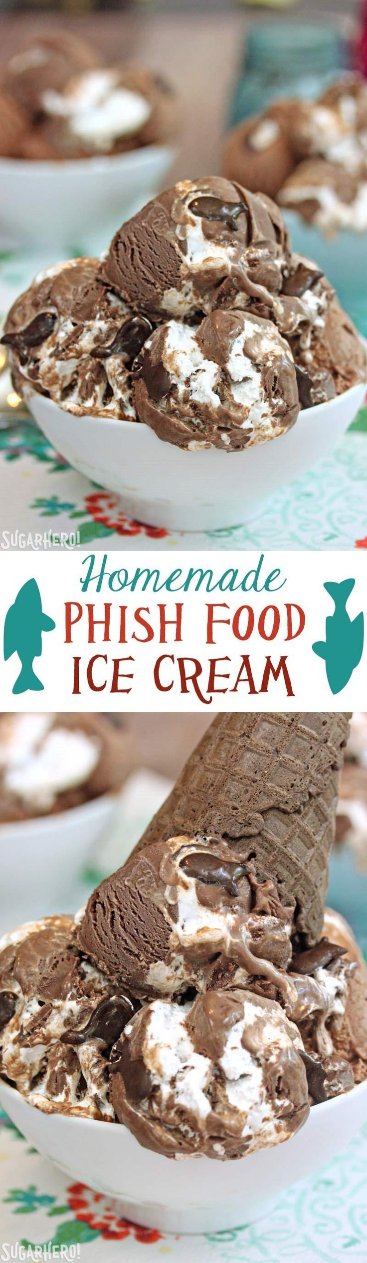 Homemade Phish Food Ice Cream - just like Ben & Jerry's! Chocolate ice cream, marshmallow and caramel swirls, and chocolate fish! | From SugarHero.com
