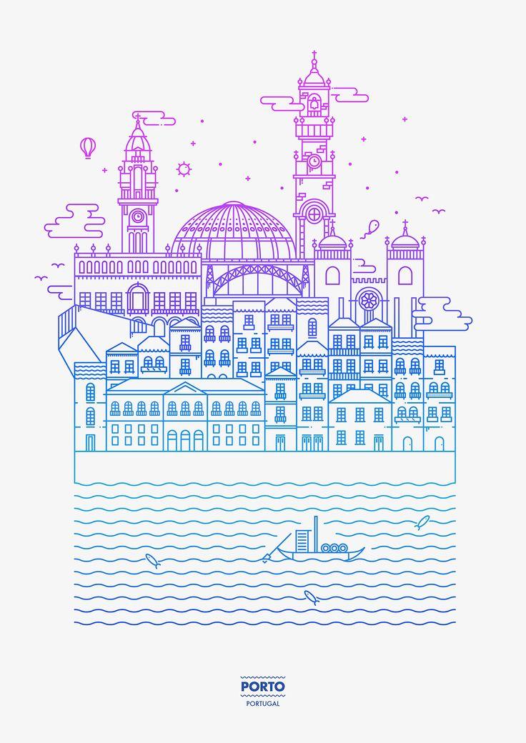 Oporto - Line Illustration - André Torres