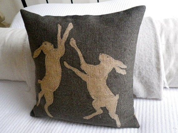 hand+printed++charcoal+rustic+boxing+hare+cushion+by+helkatdesign,+$76.00