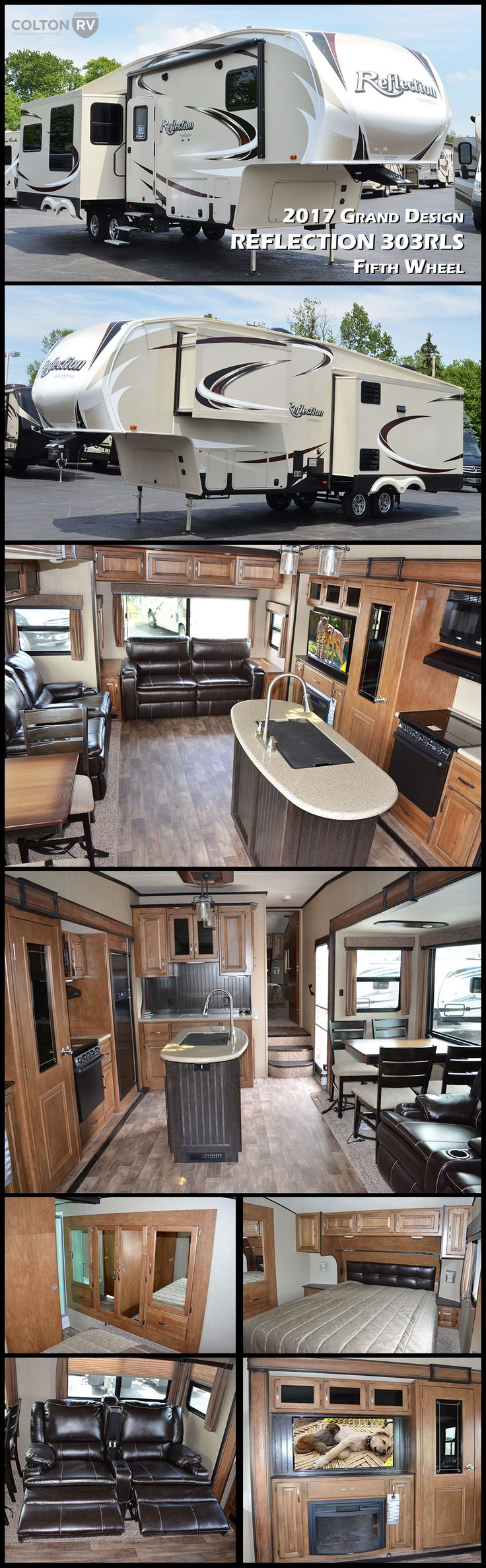 This GRAND DESIGN REFLECTION 303RLS mid-sized fifth wheel is the perfect weekend camper featuring triple slide outs and a rear living area, plus a kitchen island. Once you step inside you will immediately be impressed with the spaciousness of the living room and kitchen area. With two opposing slide outs the open concept feel of home really shows. Tucked in the rear of the fifth wheel you will find a tri-fold sofa bed that is perfect for relaxing and also provides additional sleeping when…