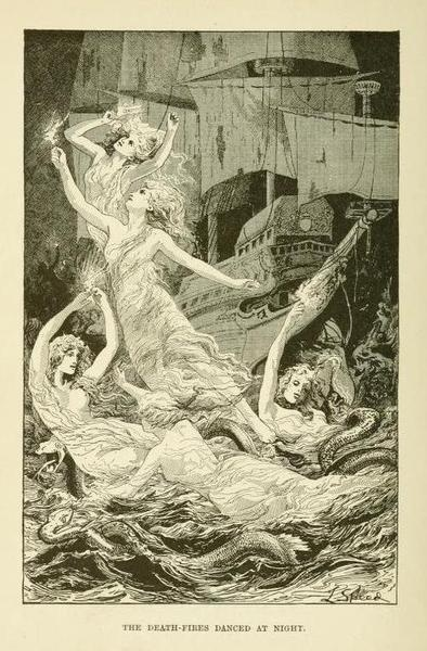 The blue poetry book (1912)  illustrations by Henry Justice Ford & Lancelot Speed    The death-fires danced at night.Poetry Book, Art Inspiration, Death Fir Dance, Blue Poetry, Lancelot Speed, 1912 Illustration, Justice Ford, Henry Justice, Book Illustration