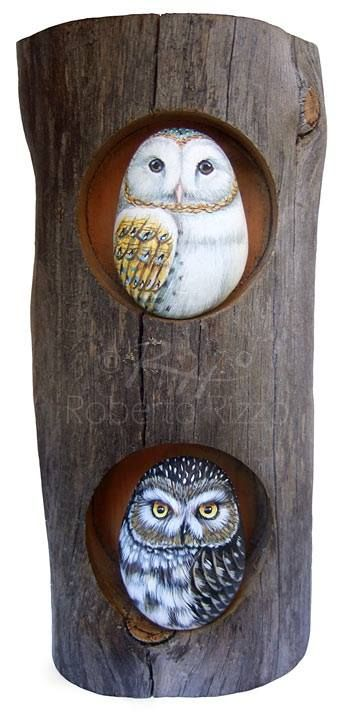 Owl painted rock by Roberto Rizzo. Love that they are in wood :)