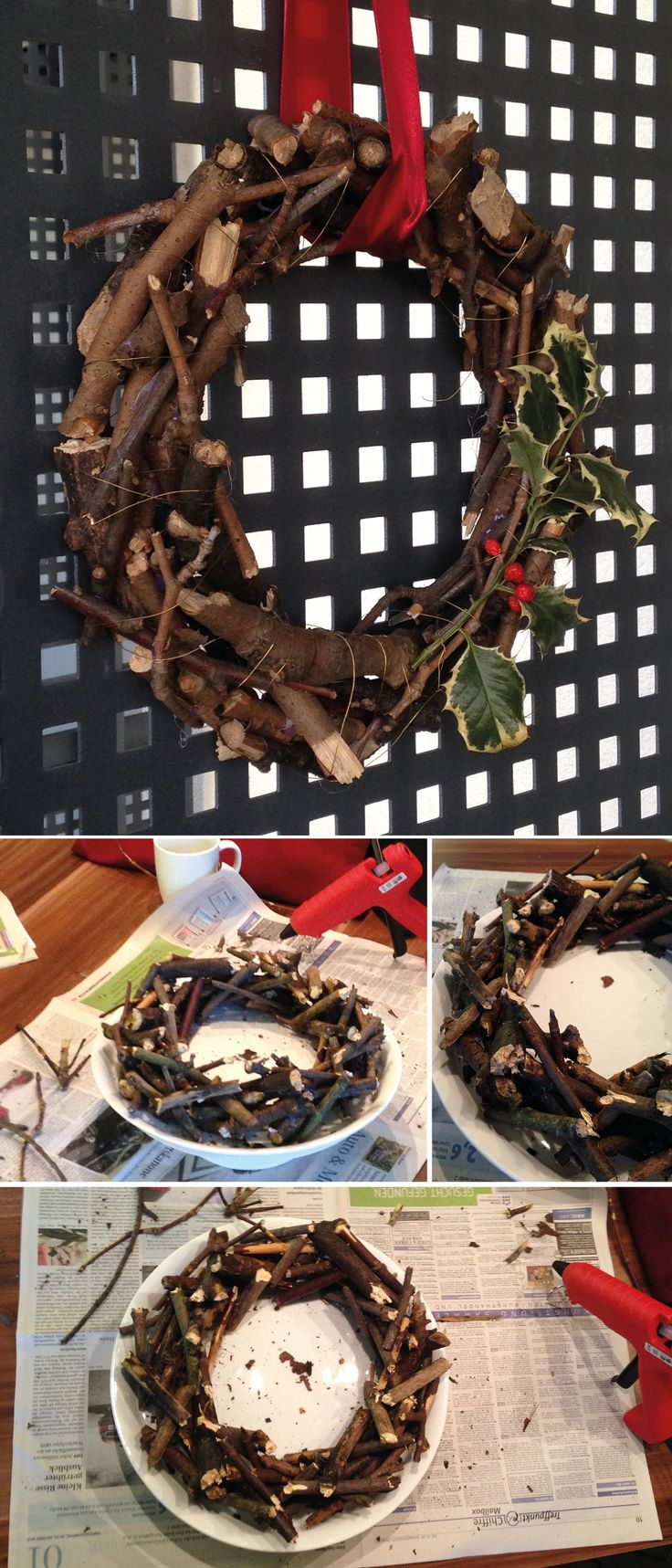 Kranz mit Ästen aus dem Wald und mit Heißkleber zusammen geklebt.