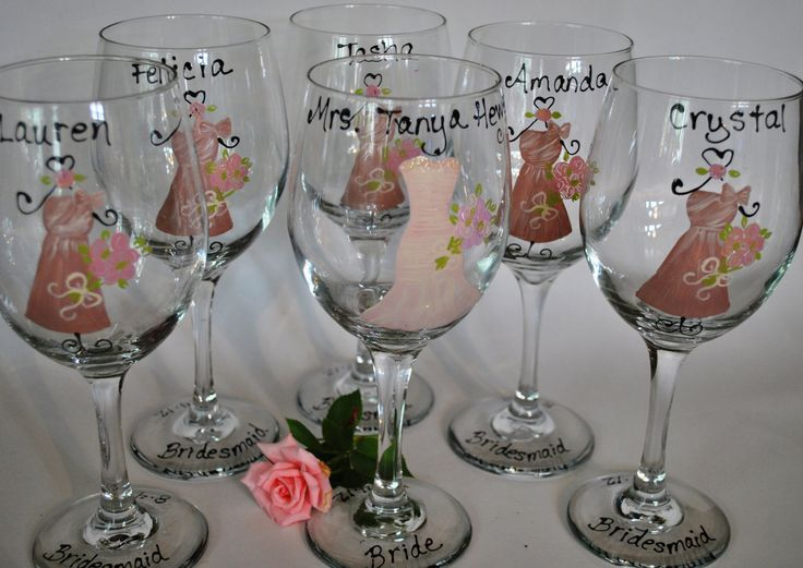 Hand Painted Bridal Party Wedding Wine Glasses by TheToastHostess, $15.00