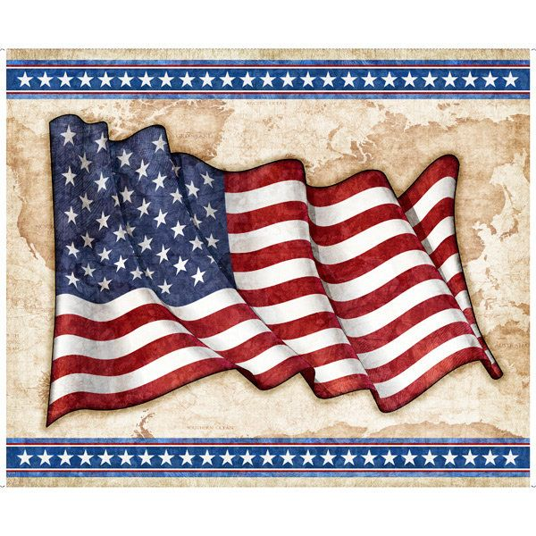 American Flag Patriotic Fabric Panel All American Military Etsy In 2020 Patriotic Fabric Quilting Treasures Fabric Flags