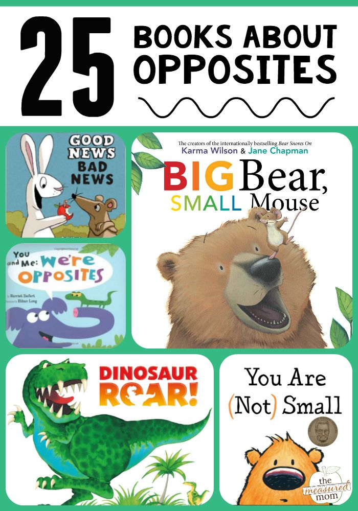 Teach all about opposites with this fun list of 25 books! Perfect for kindergartners!