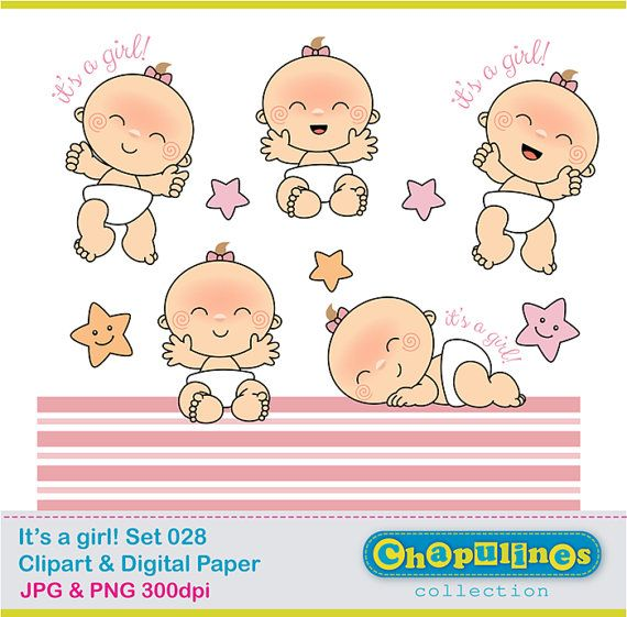 Bebé niña - Clipart Digital y Papel Digital - Set 028