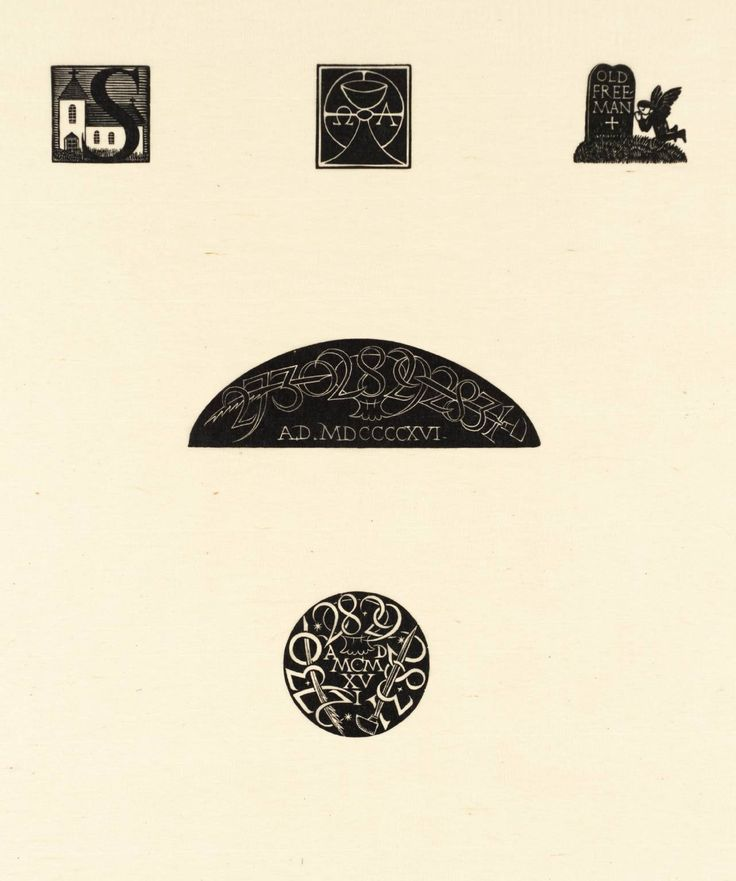 Eric Gill, 'Initial S with Church, Chalice & Host with Û & A, Gravestone with Angel, Semi-Circular Device, and Circular Device' 1916