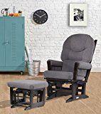 Dutailier Modern Glider Multiposition Recline and Ottoman Set, Espresso and Dark Grey   www.needinmylife.com