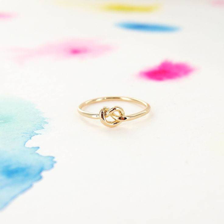 Simple Tiny Infinity Knot Ring in Gold