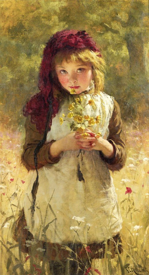 George Elgar Hicks (English painter) 1824 - 1914, Buttercups, 1889, oil on canvas, 91 x 51 cm. (36 x 20 in.), signed and dated l.r.: GE Hicks.1889. private collection