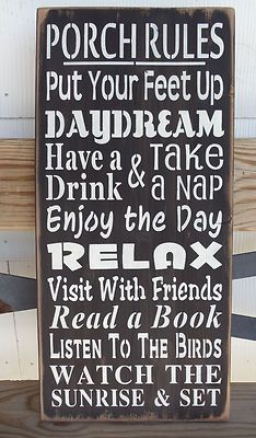 """Primitive Wood Sign Porch Rules Large 24"""" x 12"""" Subway Typography Shabby   eBay"""