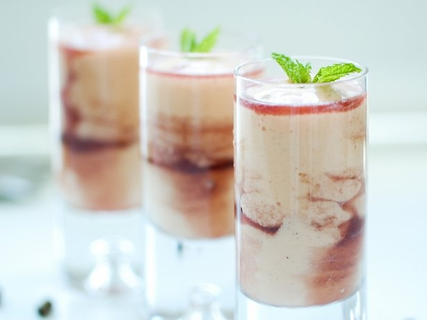Papaya Crème with Cassis Liqueur (can replace the liqueur with a black current syrup {1 med papaya, 5 scoops of vanilla bean ice cream, 3 tbl creme de cassis})