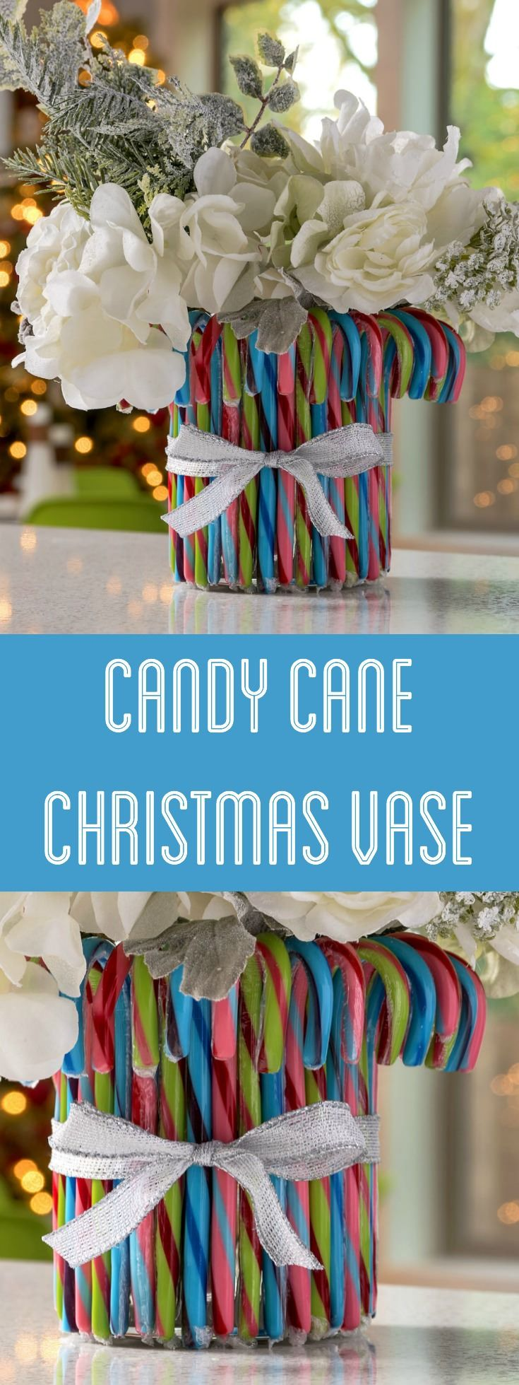 If you love candy cane decorations, this DIY Christmas vase is going to be right up your alley! It's SO easy to make using dollar store supplies and only takes a few supplies. Fun for kids to help with! via @diy_candy