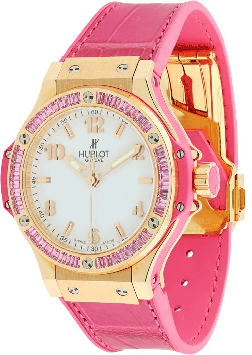 Now For Rent! Hublot Big Bang Tutti Frutti. Dive into some color with this watch. 38mm 18K red gold case, 18K red gold bezel set with 48 pink sapphire baguettes! #Hublot #Bigbang #Pink #Rent #Rental #wedding #Watches #Watch