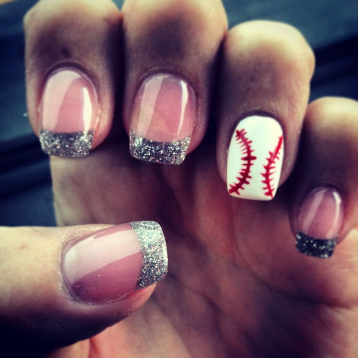 Baseball nails #sparkly #baseball #nails