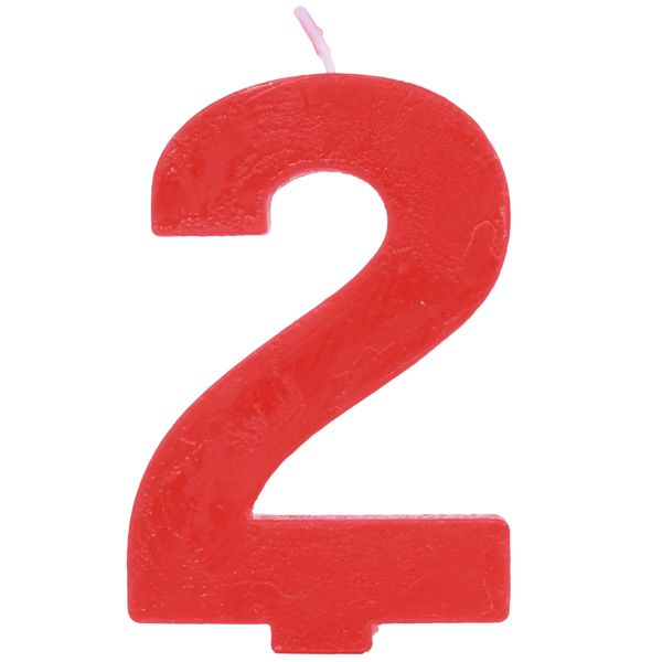 Red Number 2 Cake Candle