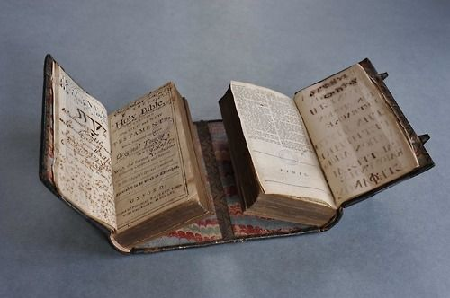 """This is a clever book from the 18th century, printed in Oxford in 1756. It presents both the Old and New Testament, although the books are not bound together the regular way, behind one another. Instead, the binder opted to place them next to each other. This very rare binding technique is part of a family that includes the dos-à-dos (or """"back to back"""") binding, which I blogged about before (here). Having the two testaments bound this way allowed the reader to consult passages from both ..."""