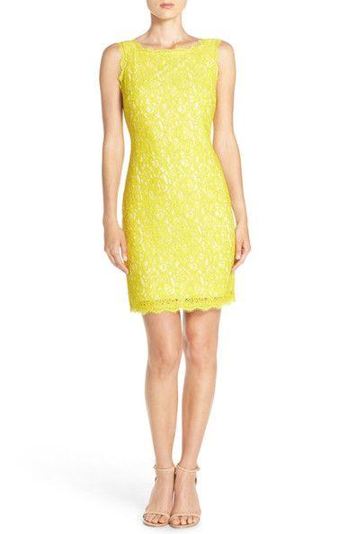 Image of Adrianna Papell Boatneck Lace Sheath Dress (Petite Size)