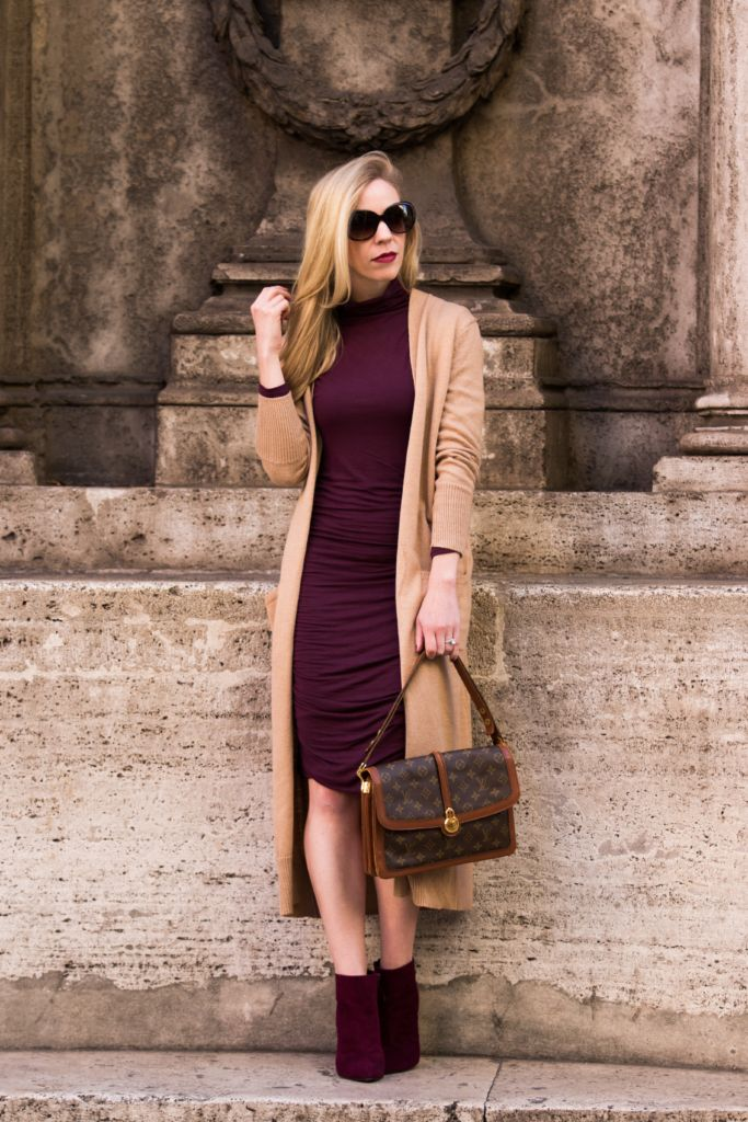 { Fall's Best Colors: Camel Cardigan & Burgundy Dress }                                                                                                                                                                                 More