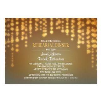 a corda do jantar de ensaio elegante das luzes convite 12.7 x 17.78cm