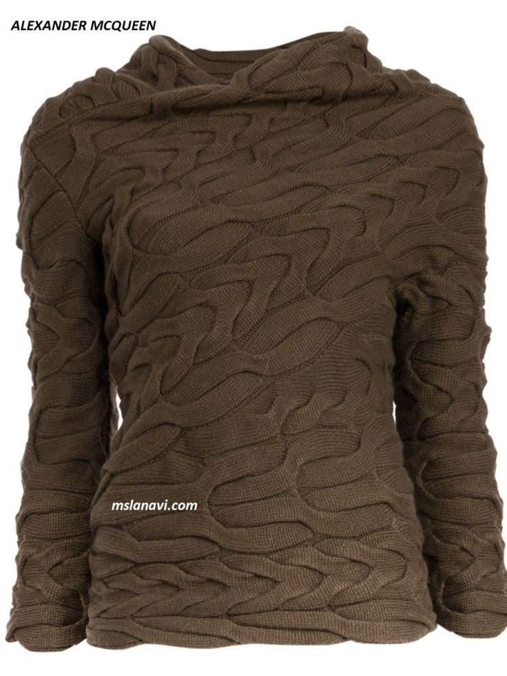 Вязаный пуловер косами от ALEXANDER MCQUEEN - СХЕМА http://mslanavi.com/2016/08/vyazanyj-pulover-shirokimi-kosami-ot-alexander-mcqueen/
