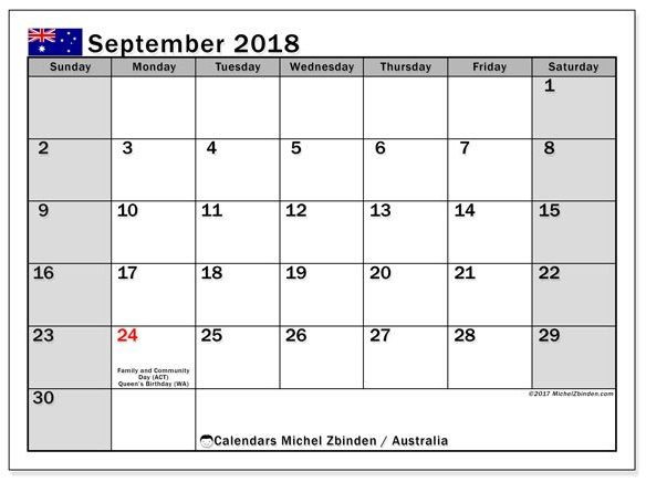 Pin On September 2018 Calendar Blank Template