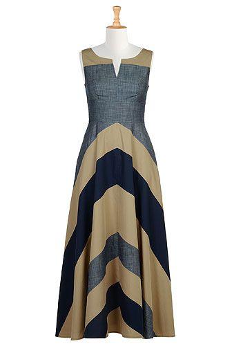 Chevron stripe colorblock maxi dress from eShakti