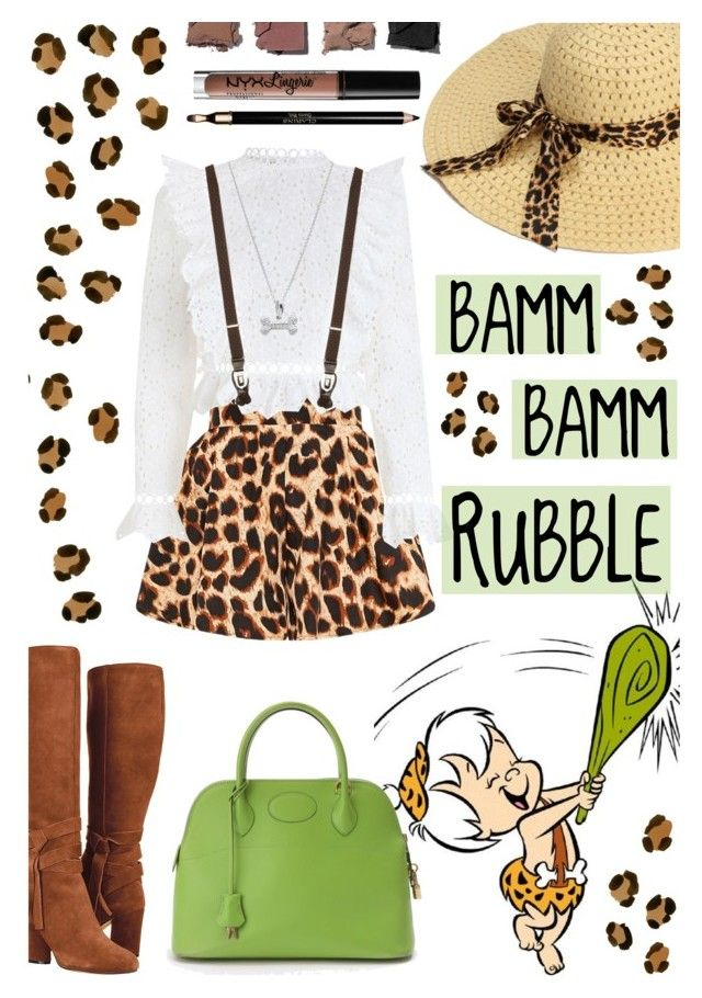 """""""BAMM-BAMM RUBBLE"""" by gpatricia ❤ liked on Polyvore featuring Hermès, Zimmermann, Saks Fifth Avenue, Brooks Brothers, Illamasqua, Charlotte Russe and Clarins"""