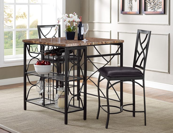 Ayden 3 Piece Pub With Wine Rack Same As Aspen Brown Faux Marble Top Polyurethane Upholstered Seats 39900 Table 36 Sq X 36H Chair 18W 17D