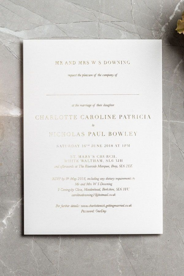Simple And Elegant Wedding Invitations Hand Printed In Foil Ideal For A Stylish Mod Foil Wedding Invitations Gold Foil Wedding Invitations Wedding Invitations