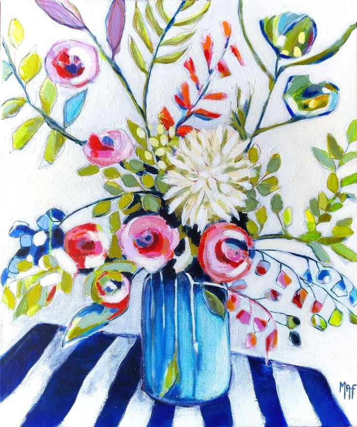 """This painting from my new series of Paintings """"Spanish Flowers"""" is dedicated to the beautiful Mediterranean island Menorca.  Title: """"Flowers from Menorca"""" Technique: Acrylic on Canvas Size: 60 ..."""