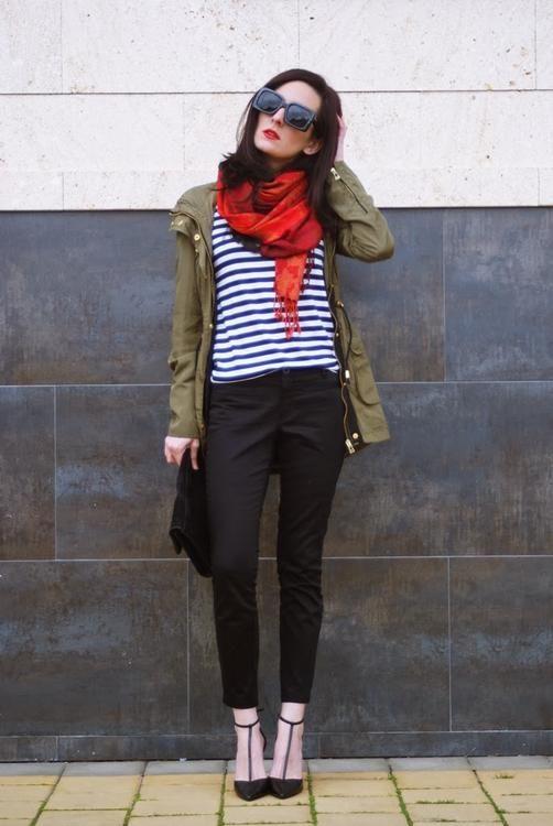 utility jacket / navy stripes / black / pop of red