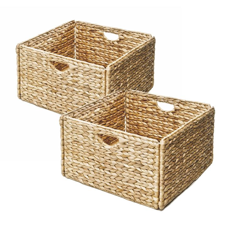 Seville Classics Woven Hyacinth Storage Cube Basket (Set Of 2) (Woven  Hyacinth Storage Cube Basket (2 Pack)), Grey Metal