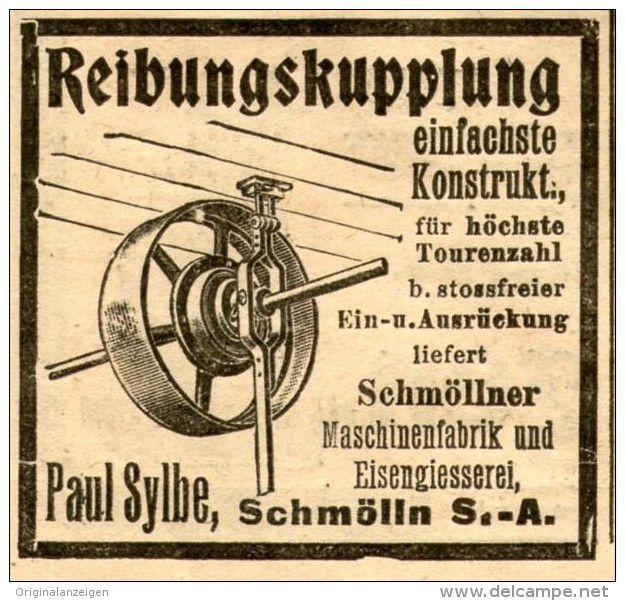 Original-Werbung/ Anzeige 1905 - REIBUNGSKUPPLUNG / PAUL SYLBE SCHMÖLLN - ca. 45 x 45 mm