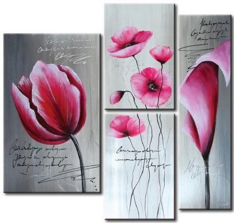 cuadros modernos texturados con flores - Buscar con Google