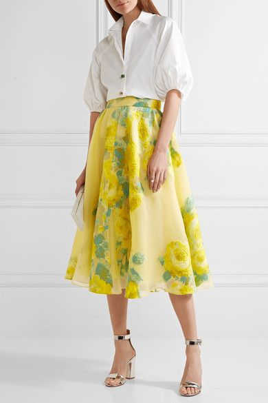 Lela Rose - Floral Fil Coupé Organza Midi Skirt - Bright yellow - US10