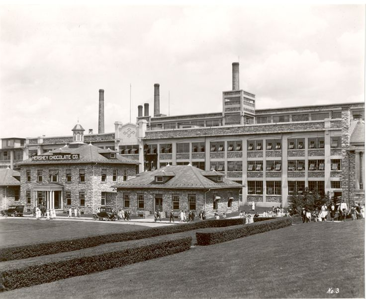 Hershey Chocolate Factory ca. 1925. - By the 1920s, Milton Hershey had the largest chocolate factory in the world, a thriving model company town, and building projects that included a bank, community swimming pool, amusement park, and multiple golf courses.