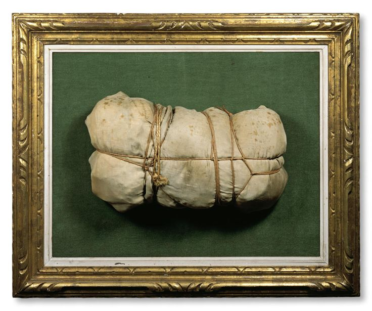 Christo Package 1960 Silk fabric, rope and twine, mounted on board covered with green velvet and framed by Christo