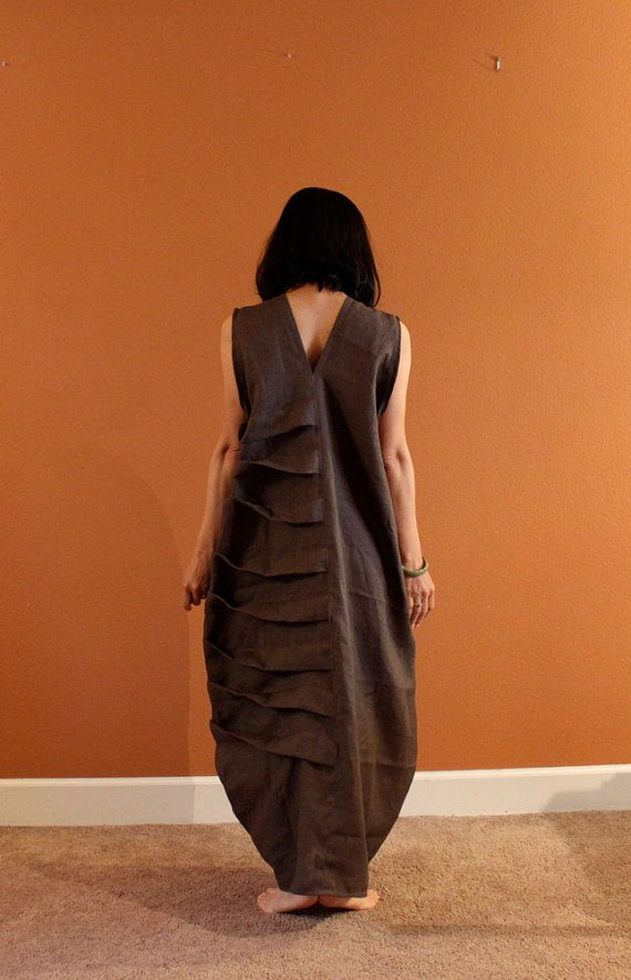ready to ship. chocolate linen spiral dress. bottle shape. size LX and up