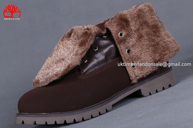 Mens Timberland Roll Top Boots Teddy Fleece Fold-Down Waterproof Brown $ 85.00