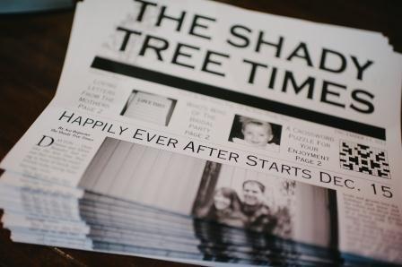 bride created a personalized Wedding Newspaper for their wedding program   The Budget Savvy Bride