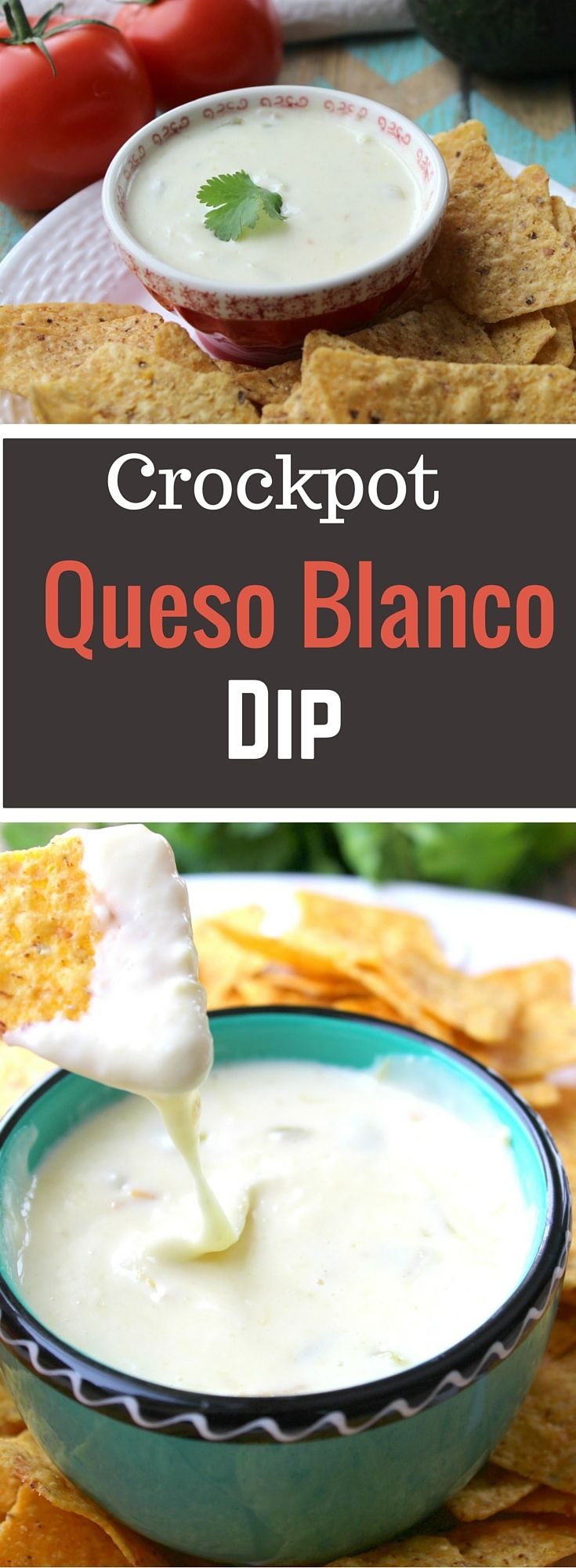 Cheesy Crockpot Queso Blanco Dip is perfect for the big Superbowl football game- Game Day Food