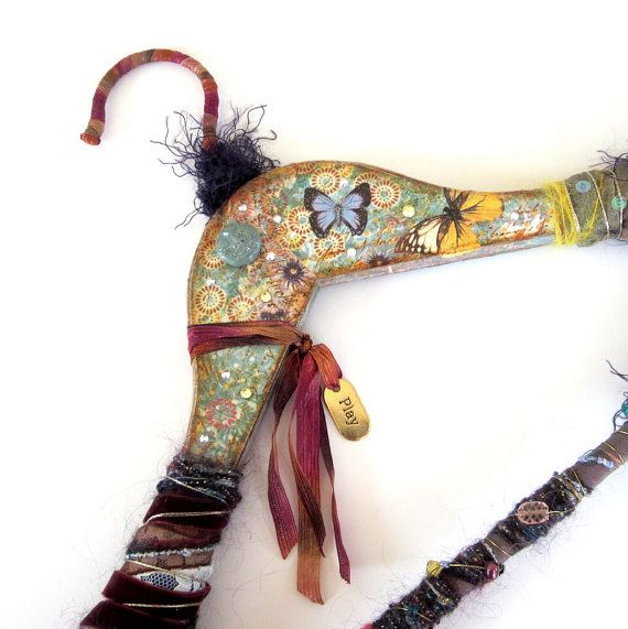 Altered Vintage Coat Hanger Altered Art Mixed Media by rrizzart, $68.00