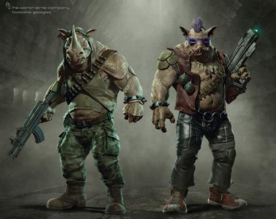 Concept art de Rocksteady y Bebop en Teenage Mutant Ninja Turtles (2014)