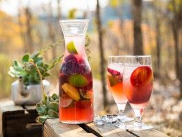 Cinnamon Sangria with Rose and Stone Fruit from CookingChannelTV.com (Sarah Graham)