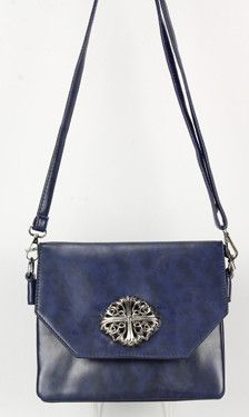 Navy Cross Body Bag with Cross Accent