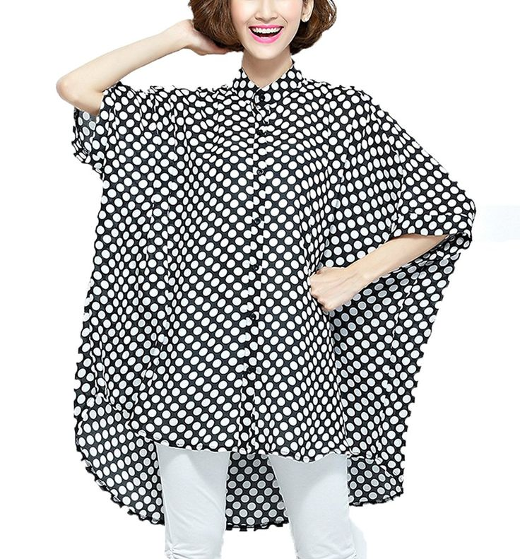 M-Bedy Women Chiffon Oversize Polka Dot Blouses Stripes Batwing Sleeve Loose Shirts -- Amazing product just a click away  : Women clothing